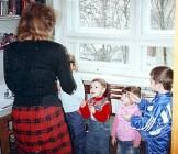 Rebecca teaching children in Sunday School